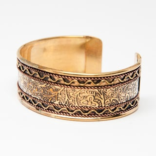Handmade Brass and Copper Cuff Bracelet (India)