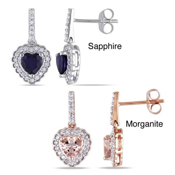 Miadora 10k Gold Sapphire or Morganite and 1/4ct TDW Diamond Heart Earrings