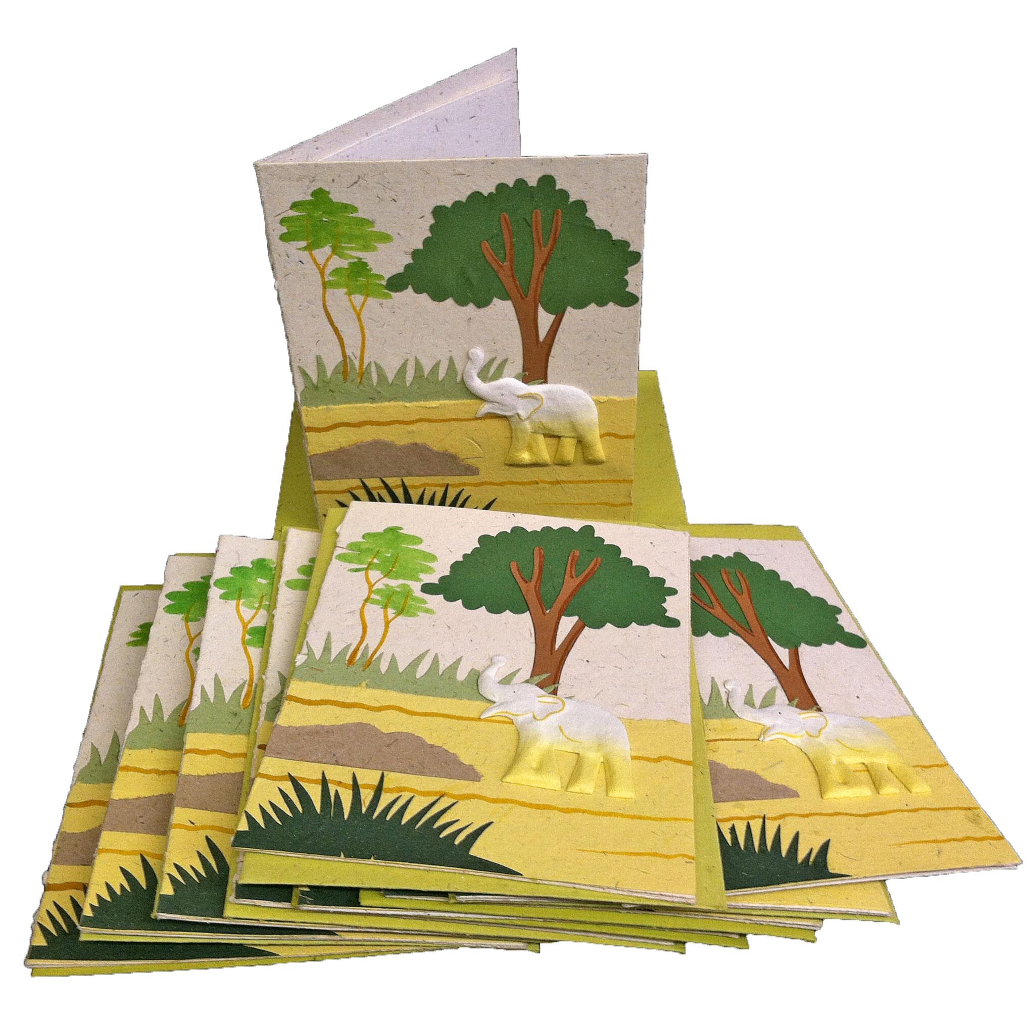 Set of 10 Elephant Dung Natural White Paper Greeting Cards (Sri Lanka)