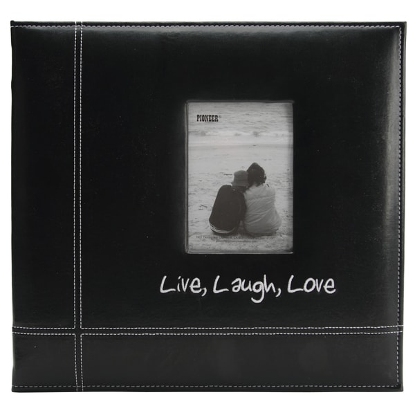 "Pioneeer Embroidered Stitched Leatherette Postbound Album 12""X12""-Black Live/Laugh/Love"