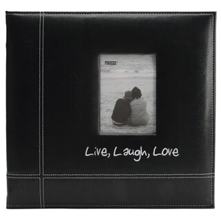 """Pioneeer Embroidered Stitched Leatherette Postbound Album 12""""X12""""-Black Live/Laugh/Love"""