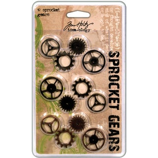 Tim Holtz Idea-Ology Sprocket Gears-12/Pkg - 4ea Antique Nickel/Brass/Copper