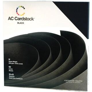 "American Crafts Cardstock Pack 12""X12"" 60/Pkg-Black"
