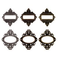 Tim Holtz Idea-Ology Ornate Plates With Long Fasteners-6/Pkg
