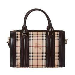 Burberry Medium Haymarket Check/ Chocolate/ Plum Bowler Bag