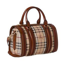 Burberry Medium Haymarket Check/ Chocolate/ Rust Bowler Bag