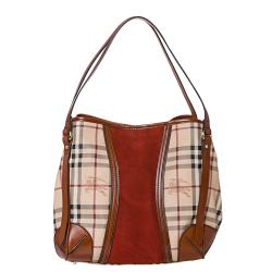 Burberry Small Haymarket Check/ Rust Suede Tote Bag