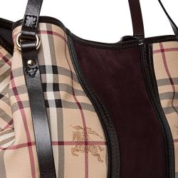 Burberry Small Haymarket Check/ Plum Suede Tote Bag - Thumbnail 2