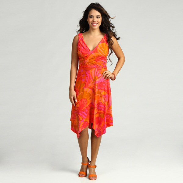 London Times Women's Salmon /Fuschia Size10 Butterfly Wing Print Dress