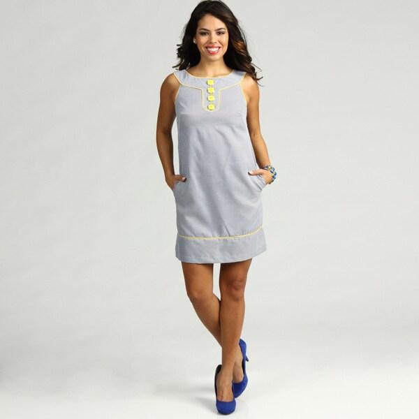 London Times Women's Sticking Stripe Cotton Dress