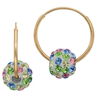 Junior Jewels 10k Yellow Gold Children's Colored Crystal Slider Bead Hoop Earrings