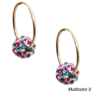 Junior Jewels 10k Yellow Gold Children's Colored Crystal Slider Bead Hoop Earrings