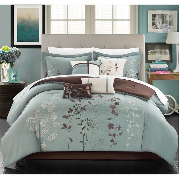 Bliss Garden Aqua Blue Floral Print 8-piece Microfiber Bed-in-a-Bag with Sheet Set