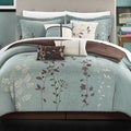 Bliss Garden Aqua Blue Floral Print 8-piece Microfiber Bed-in-a-Bag with Sheet Set
