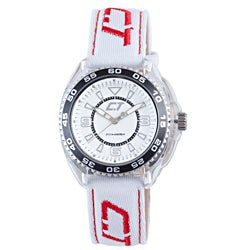Chronotech Kid's White and Red Canvas Watch