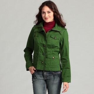 Live a Little Women's Ruffle Trim Military Jacket