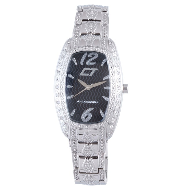 Chronotech Women's Black Dial Crystal Stainless Steel Watch - Thumbnail 0
