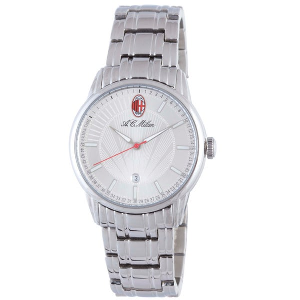 Chronotech Men's Silver Sunray Dial Polished Stainless Steel Watch