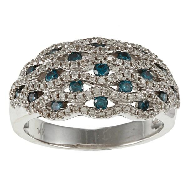 Victoria Kay 14k White Gold 7/8ct TDW Blue and White Vintage Diamond Ring (I-J, I1-I2)