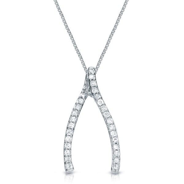 Auriya 14k Gold 1/8ct TDW Diamond Fashion Wishbone Necklace