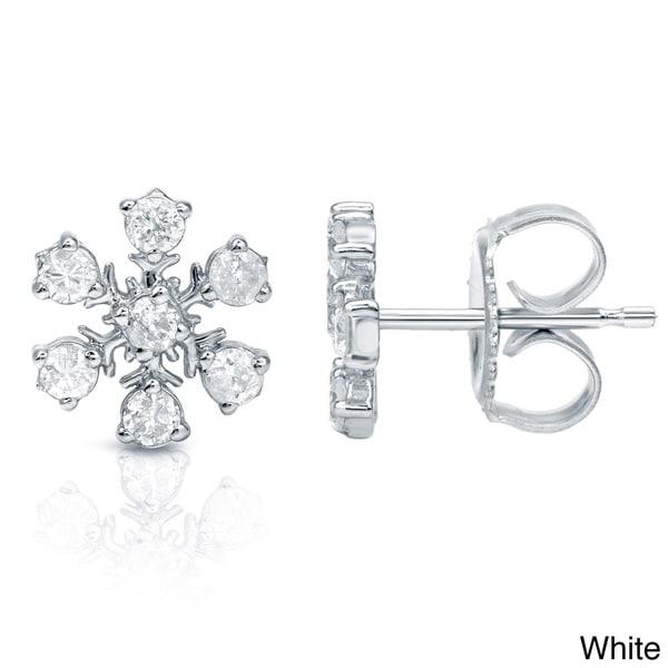 Auriya 10k Gold Diamond Snowflake Earrings