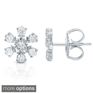 Auriya 10k Gold Diamond Snowflake Earrings