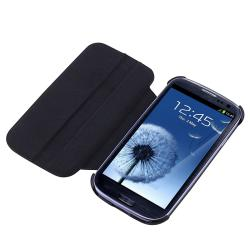 INSTEN Black Leather Flip Phone Case Cover for Samsung Galaxy S III i9300 - Thumbnail 1