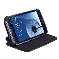 INSTEN Black Leather Flip Phone Case Cover for Samsung Galaxy S III i9300 - Thumbnail 2
