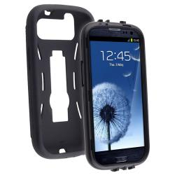 INSTEN Black/ Black Hybrid Phone Case Cover with Stand for Samsung Galaxy S III i9300