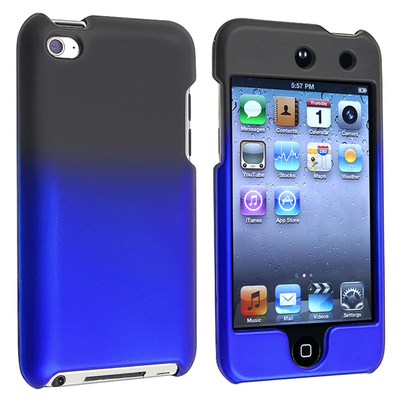 INSTEN Black to Blue Rubber Coated iPod Case Cover for Apple iPod Touch Generation 4