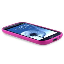 Hot Pink Trim TPU Case with Stand for Samsung Galaxy S III i9300 - Thumbnail 2