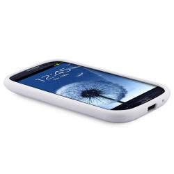 White Silicone Skin Case with Stand for Samsung Galaxy S III i9300 - Thumbnail 1