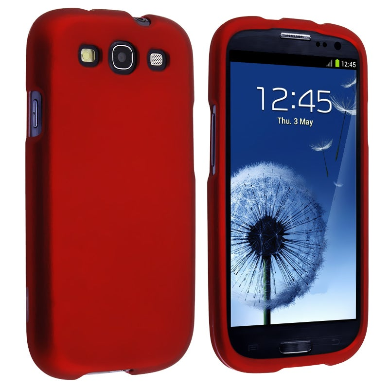 INSTEN Red Snap-on Rubber Coated Phone Case Cover for Samsung Galaxy S III i9300 - Thumbnail 0