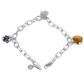 ASPCA Tender Voices Sterling Silver 1/10CTtw Diamond Accent Paw Bracelet (I-J, I2-I3)