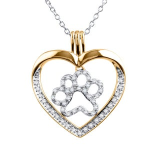 ASPCA Tender Voices 10k Yellow Gold 0.26CTtw Diamond Heart Paw Necklace