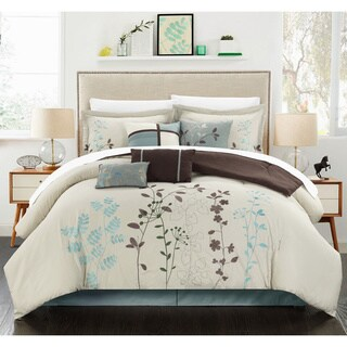 Bliss Garden Beige 12-piece Bed in a Bag with Sheet Set