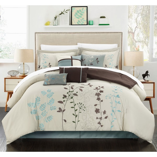 Bliss Garden Beige 12 piece Bed in a Bag with Sheet Set Free
