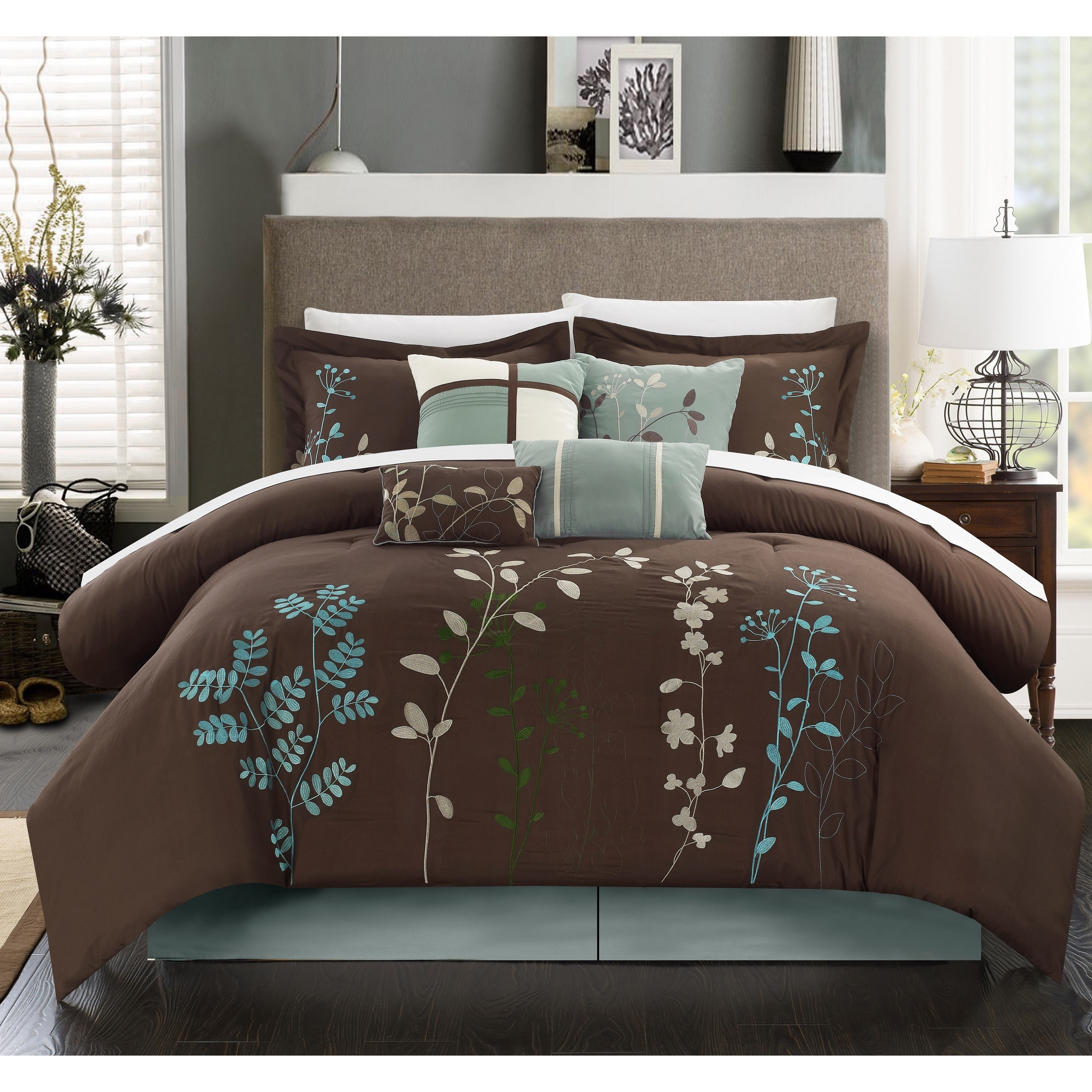 Bliss Garden Chocolate Brown 12-piece Bed in a Bag with Sheet Set