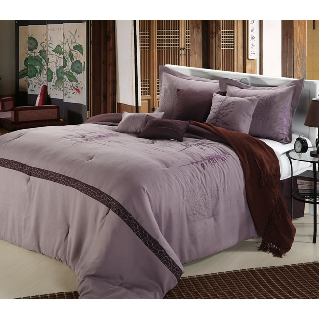 Embroidered Vines Plum 12-piece Bed in a Bag with Sheet Set - Thumbnail 0