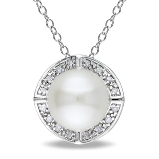 Miadora Sterling Silver Pearl and Diamond Accent Necklace (8-8.5 mm)