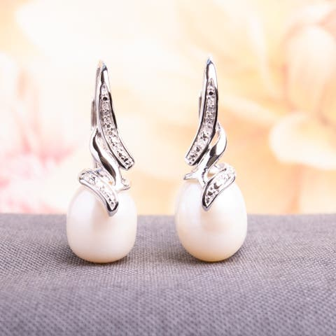 Miadora Sterling Silver Pearl and Diamond Accent Leverback Drop Earrings - White