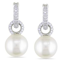 Miadora Signature Collection 14k Gold South Sea Pearl and 1ct TDW Diamond Earrings (G-H, SI1-SI2) (10-10.5 mm)