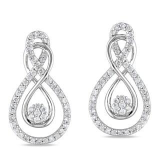 Miadora 10k White Gold 1/2ct TDW Round-cut Diamond Earrings