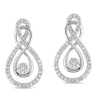 Miadora 10k White Gold 1/2ct TDW Round-cut Diamond Earrings
