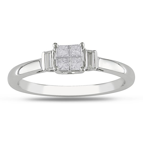 Miadora 10k White Gold 1/3ct TDW Princess Diamond Ring