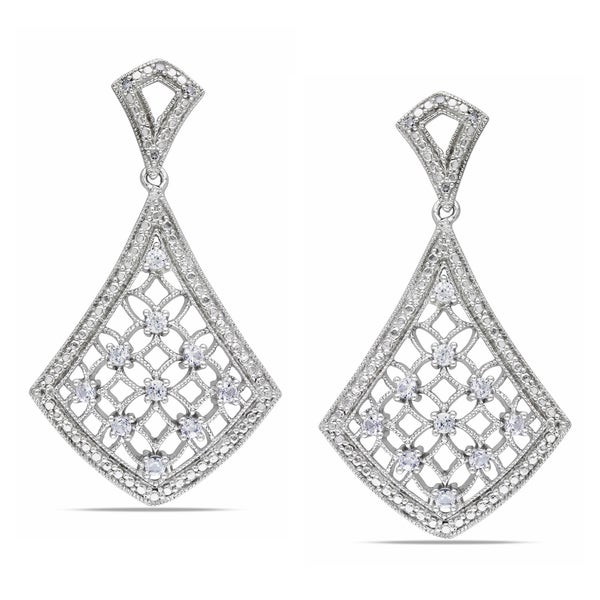 Miadora Sterling Silver Created Sapphire and Diamond Accent Earrings