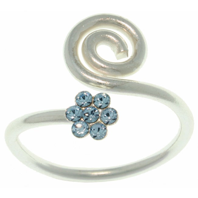 Carolina Glamour Collection Sterling Silver Blue Crystal Flower Swirl Ring
