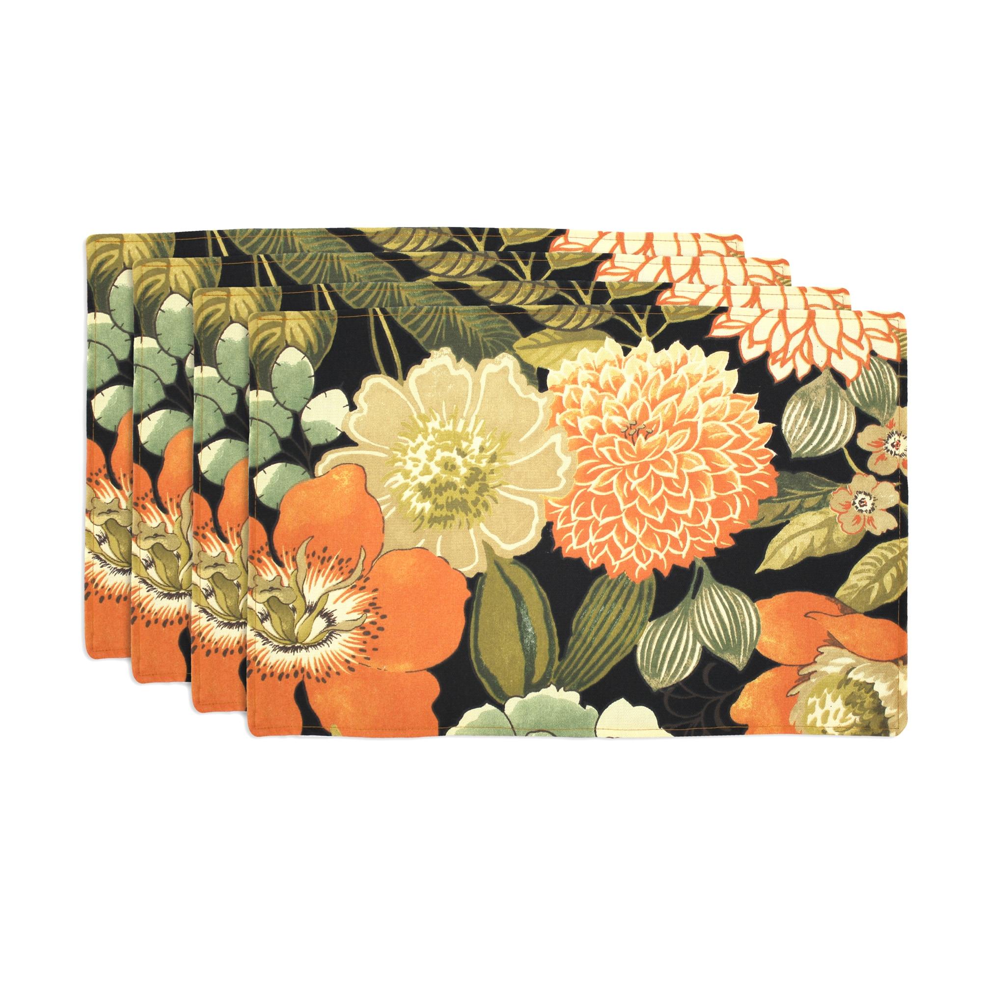 Jolene Terrace Lava Black Floral Placemats (Set of 4)