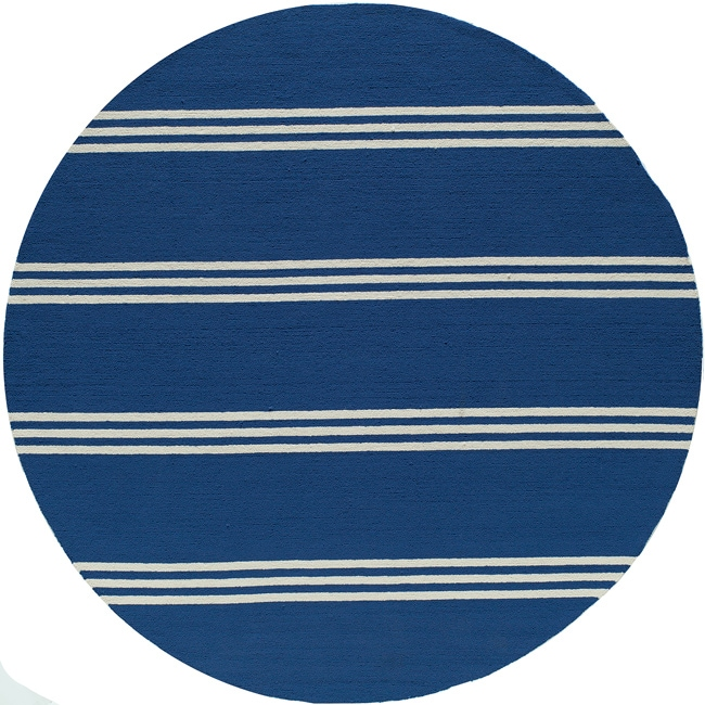 South Beach Indoor/Outdoor Blue Stripes Rug (9 'x 9' Round) - Thumbnail 0