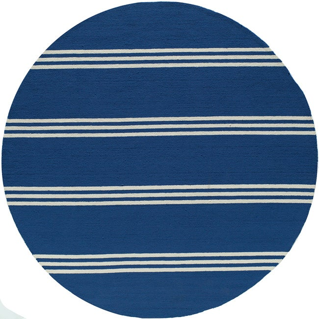 South Beach Indoor/Outdoor Blue Stripes Rug (9 'x 9' Round)